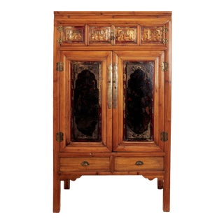 Antique Chinese Cabinet Featuring Old Art Carvings and Panels For Sale