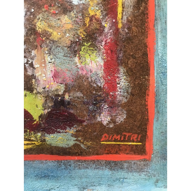 1950s Mid-Century Abstract Painting Signed by Dimitri For Sale - Image 5 of 6