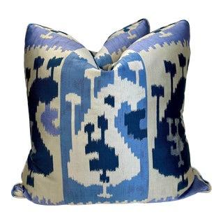 "Woven Silk Ikat 22"" Pillows-Pair For Sale"