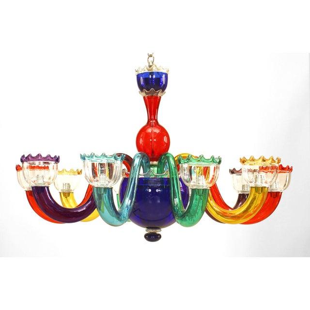Mid 20th Century Italian 1950s Multicolored Murano Glass Chandelier For Sale - Image 5 of 5