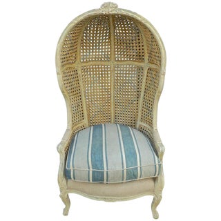 1920s Vintage French Painted Cane Canopy Armchair For Sale