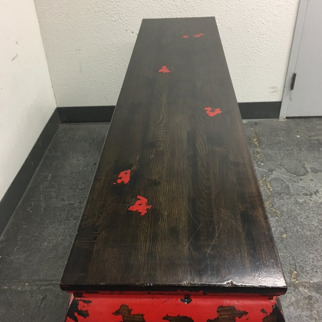 Gumps of San Francisco Asian Console Table with Red Antiqued Finish - Image 9 of 9