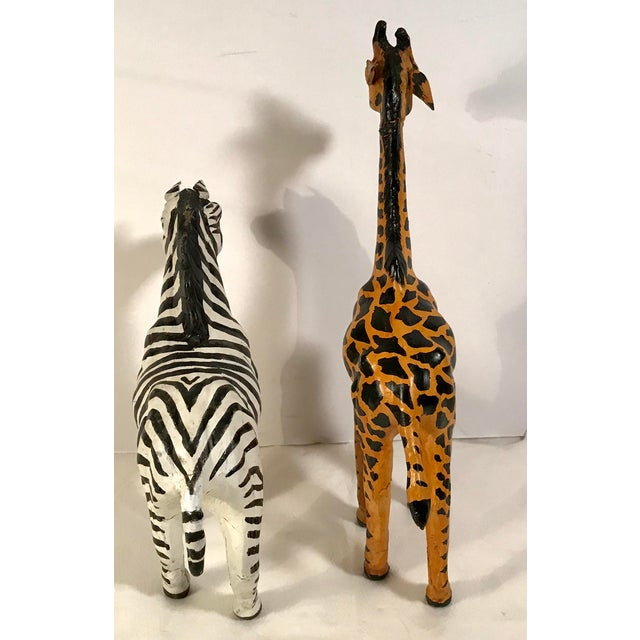 a41a4a10e8 Mid 20th Century Vintage Paper Mache Giraffe and Zebra Figurines - a Pair  For Sale -
