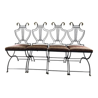 Folding Vintage Italian Neoclassical Iron & Bronze Lyre Back Swan Chairs - Set of 4 For Sale