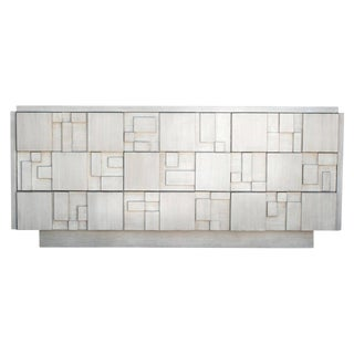 Brutalist 9-Drawer Dresser Credenza by Lane in a Custom White Finish For Sale