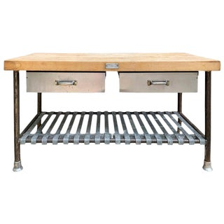 American Industrial Butcher Block Top Table For Sale