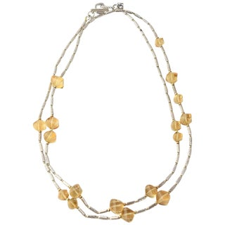 David Yurman 18k Gold Bead and Sterling Cable Citrine Station Necklace For Sale