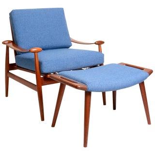 Finn Juhl Teak Fd133 Spade Chair and Hans Wegner Ottoman For Sale