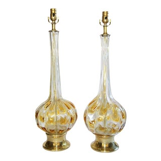 1950s Murano Italian Amber & Clear Glass Table Lamps - a Pair For Sale