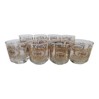 Vintage TWA International Countries Cocktail Glasses - Set of 8