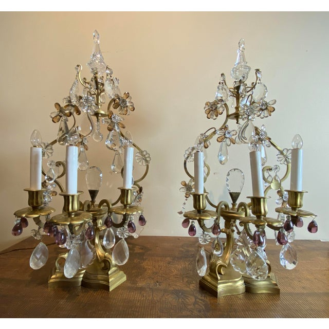 Pair of French girandoles with crystals and amethyst drops. Late 19th Century Would look lovely in the dining room, an...