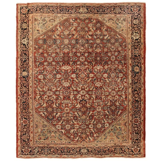 Early 20th Century Antique Persian Mahal Rug-8′9″ × 10′5″ For Sale - Image 11 of 11