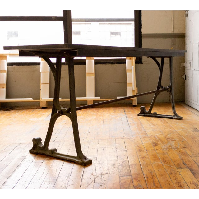 Industrial 20th Century Industrial Iron Console With Marble Top For Sale - Image 3 of 11