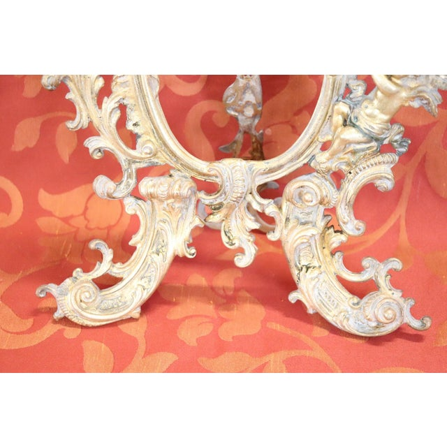 1900 - 1909 Italian Baroque Style Photo or Picture Frame in Gilded and Chiseled Bronze For Sale - Image 5 of 12