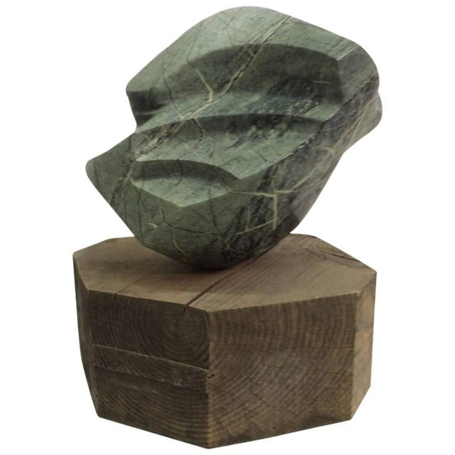 Large Abstract Marble Sculpture on Rough Wood Base - Image 1 of 5