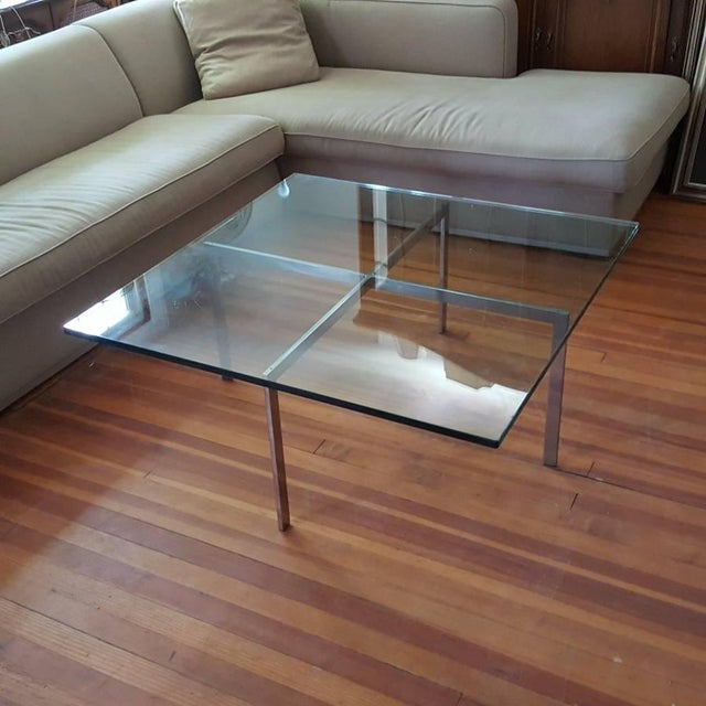 Vintage stainless steel Barcelona table by Ludwig Mies van der Rohe for Knoll. This is a collectible earlier edition of...