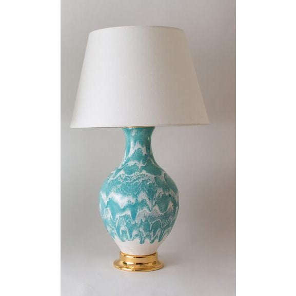 The ATHENS lamp is shown in our Briland Drip glaze. Handmade and signed by Paul Schneider. Currently in stock. LAMP BODY...