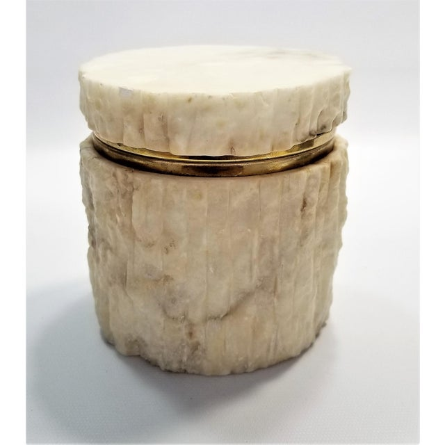 Rare Heavy Vintage Italian Alabaster Marble Jewelry Box - Italy Mid Century Modern Palm Beach Boho Chic For Sale - Image 4 of 13