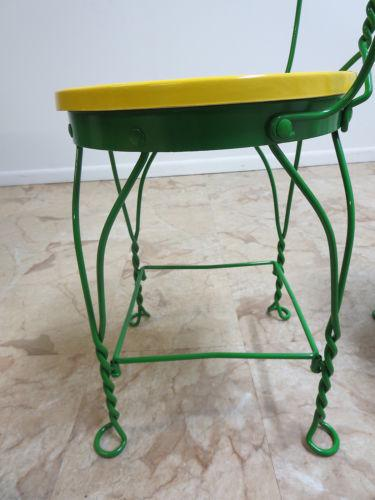 2000   2009 Antique Green Bent Wire Yellow Bistro Dining Set For Sale    Image 5