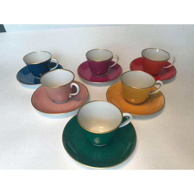 Italian Mid Century Italian Richard Ginori Tea Cups/Demitasse Set - Set of Six, 12 Pieces For Sale - Image 3 of 13