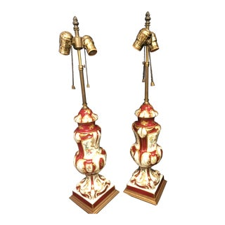 Antique Asian Inspired Red/Gold Porcelain Lamps - a Pair For Sale