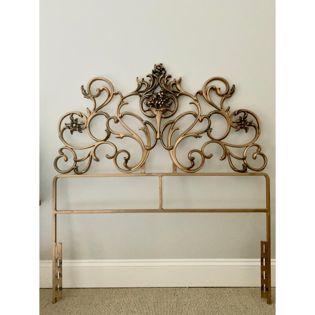 Vintage Gold Iron Twin Headboards With Floral Motif - a Pair For Sale In Raleigh - Image 6 of 11