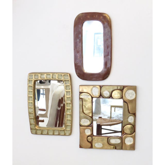 French Ceramic Gold Crackle Glazed and Crystalline Mirror by Francois Lembo For Sale - Image 9 of 10