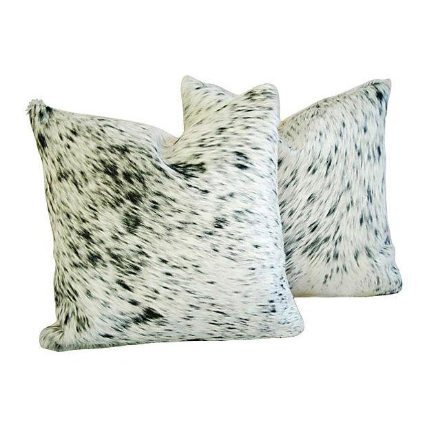 Custom Natural Cowhide & Down Pillows - A Pair - Image 5 of 6