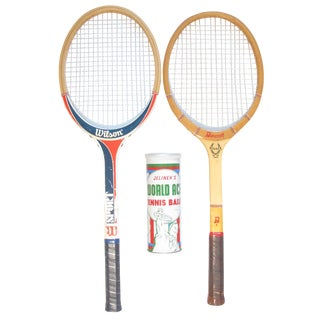 Vintage Wood Tennis Racquets & Balls, S/3 For Sale