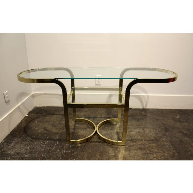 1980s Brass Console Cafe Table With Pink Chairs by Dia Design Institute of America For Sale - Image 5 of 8