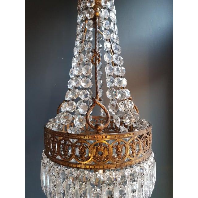 Gold Basket Chandelier Brass Empire Crystal Lustre Ceiling Lamp Antique Art Nouveau For Sale - Image 8 of 12