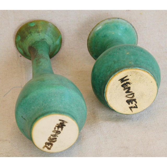 Mid-Century Studio Art Green Pottery Bud Vases - Set of 2 - Image 4 of 8
