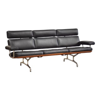 Eames Black Leather and Teak Sofa for Herman Miller For Sale