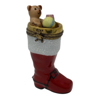 Hand Painted Limoges Santa Boot Box For Sale