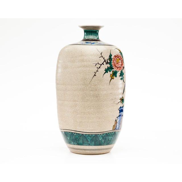 Asian Late-20th Century Kutani Square Hand-Painted Vase For Sale - Image 3 of 9