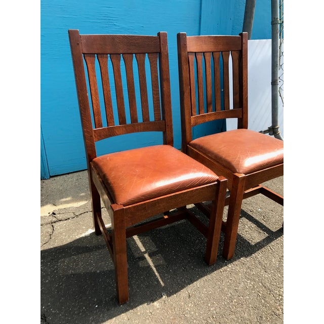 Stickley Mission Cottage Oak & Leather Side Chairs - A Pair - Image 4 of 11