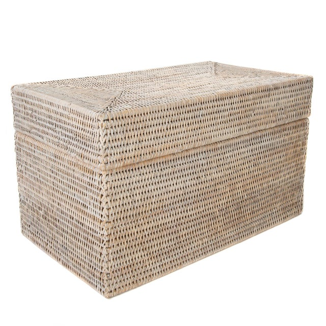 2010s Artifacts Rattan Rectangular Hinged Chest For Sale - Image 5 of 6