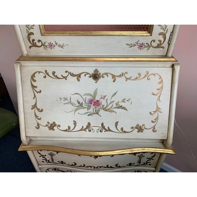 Late 20th Century 20th Century Cottage John Widdicomb Hand Painted Secretary With Chair - 2 Pieces For Sale - Image 5 of 13