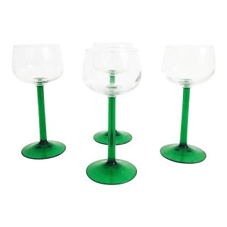 Vintage Luminarc Green Stemmed Wine Glasses - Set of 4