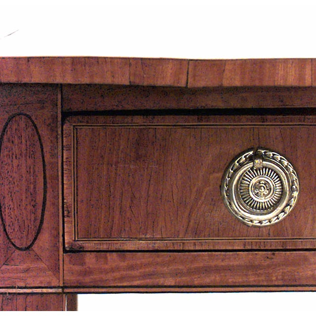 English Georgian marquetry, satinwood Pembroke table with shell-inlaid tulipwood banded oval top above a frieze drawer, on...