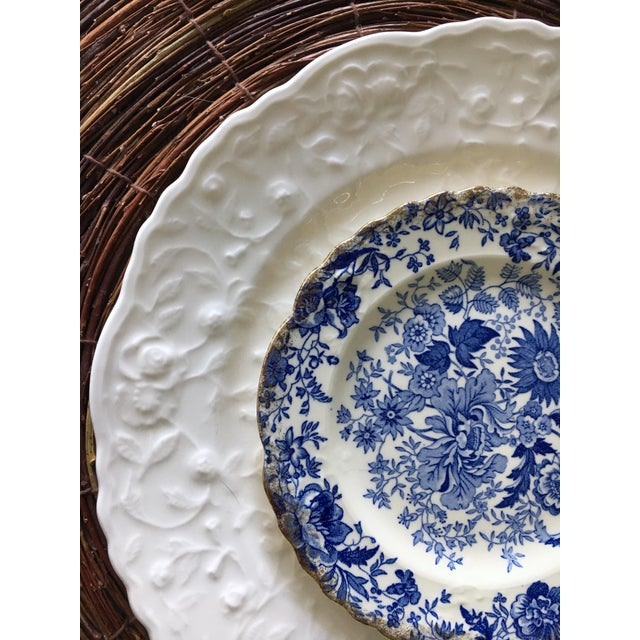 Vintage Blue & White Chintz Transferware Plates - Set of 8 For Sale - Image 5 of 8