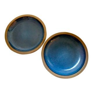 Mid-Century Heath Blue Ceramic Dinner Plates in Moonstone - A Pair For Sale
