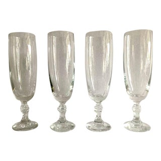 Vintage 1970s Clear Champagne Glasses - Set of 4 For Sale