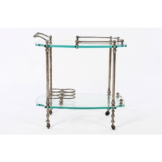 Exquisite French Art Deco Wrought Iron Bar Cart - Image 3 of 4