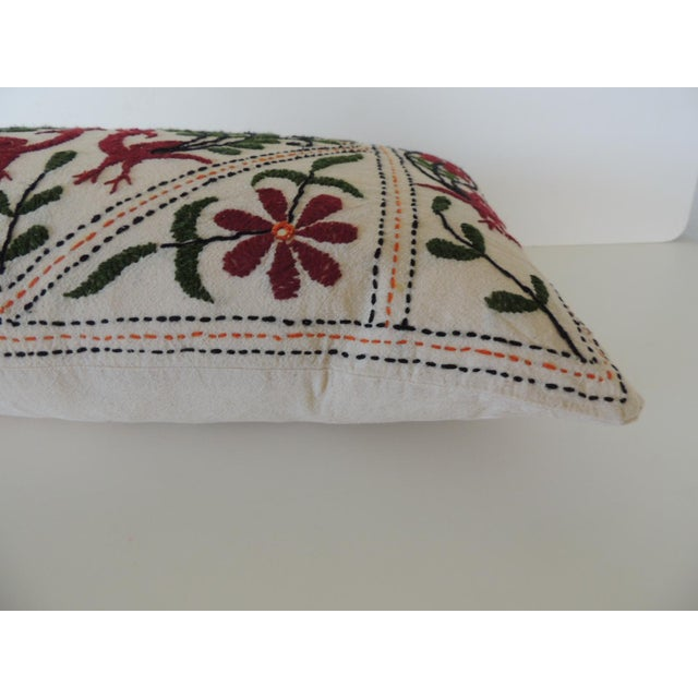 Vintage Indian Colorful Floral Embroidered Decorative Bolster Pillow For Sale - Image 4 of 5