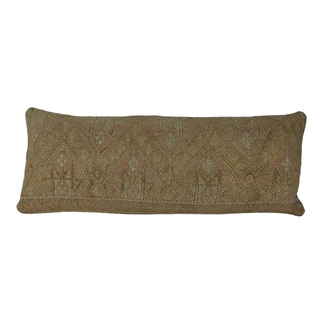 16 X 40 Inch Hippie Bedding Kilim Pillow Cover, Handwoven Wool Long Bed Cushion For Sale