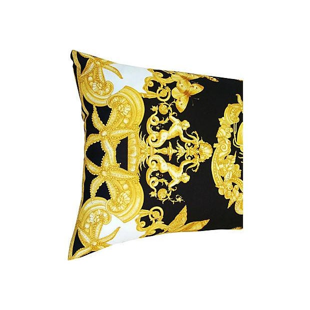 Large Designer Versace Silk Aquatic Baroque Pillow For Sale - Image 5 of 9