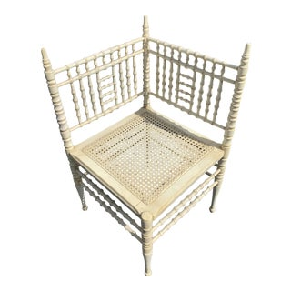 Late 19th Century Antique Heywood Wakefield Faux Bamboo Corner Chair For Sale