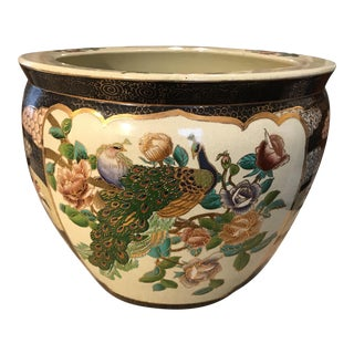 Chinese Fish Bowl Peacock Porcelain Planter