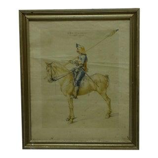 """Circa 1900 """"The Soldier"""" Framed Albrecht Durer Print"""